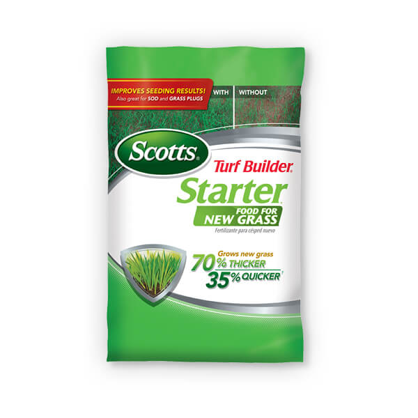 Image of a bag of Scott Turf Builder Starter Food for New Grass