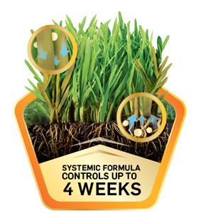 Image with grass and caption that states- Systematic Formula Controls up to four weeks