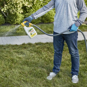 Image that shows a user spraying Scotts Liquid weed and feed on their lawn