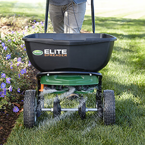 scotts elite spreader for thickr lawn