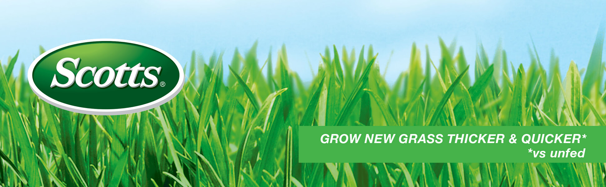 Scotts logo over green grass with caption- Grow new grass Thicker and quicker *Vs Unfed