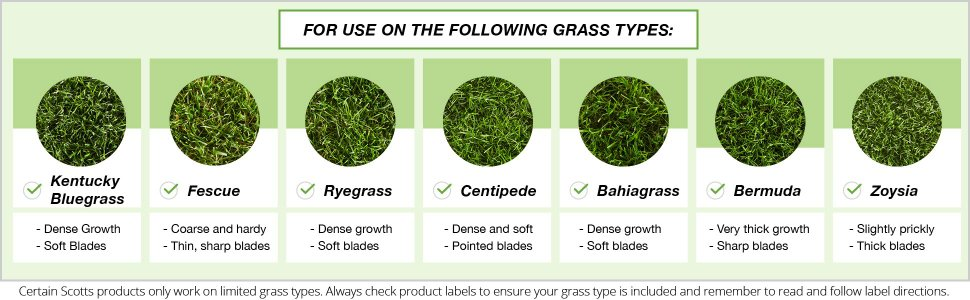 For use on the following grass types - Kentucky Bluegrass, Fescue, Ryegrass, Centipede, Bahiagrass, Bermuda and Zoysia