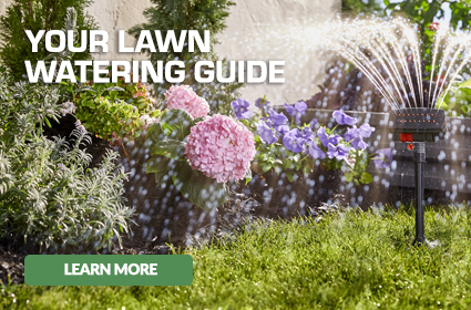 Sprinkler watering lawn with caption - Your Lawn Watering Guide