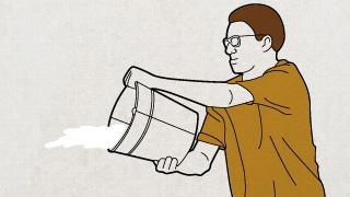 An illustration of a man dumping out a bucket of water.