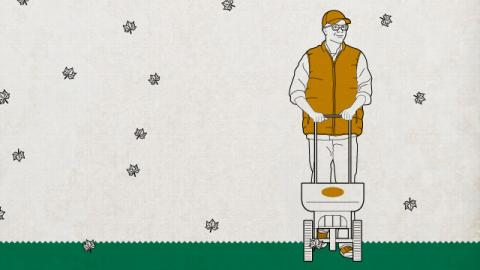 Illustration of a man pushing a Scotts fertilizer spreader.