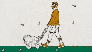An Illustration of a man Aerating his lawn