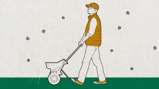 Illustration of man pushing a spreader