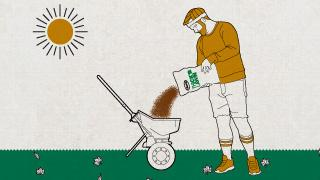 "Scotts Presents:"" The Scotts Way Thicken Your Lawn by Overseeding"" - Man pouring seed into a spreader"
