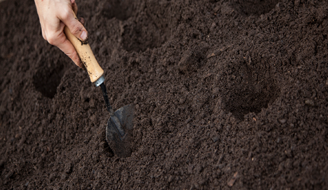 A man digging a small hole with a small hand shovel.