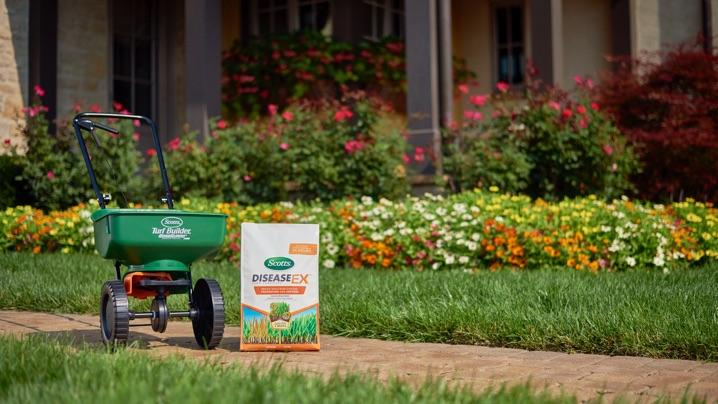 How to Identify Lawn Diseases: Scotts® DiseaseEx™ with spreader on path near beautiful lawn