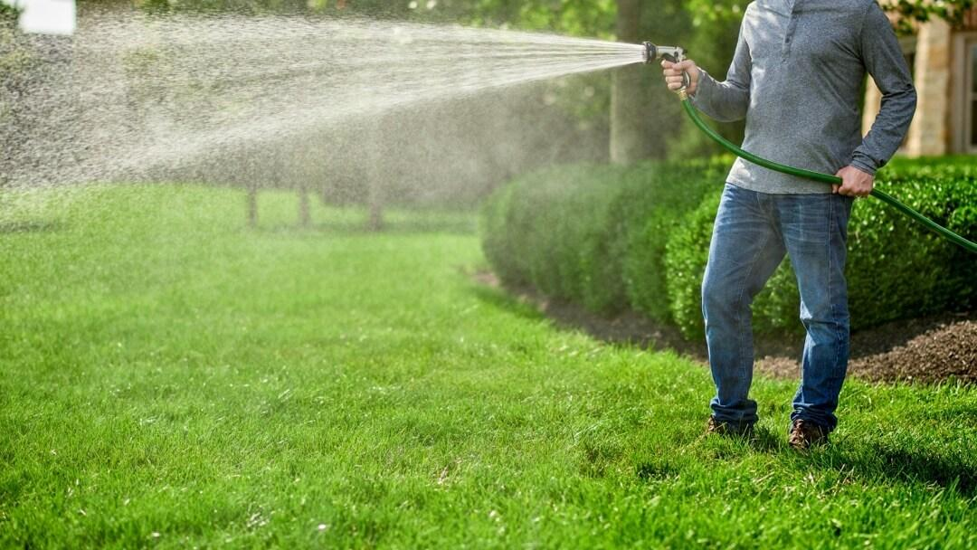 Man using hose to water lawn with a wide mist pattern.