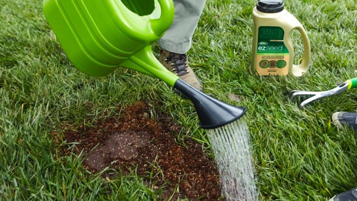 What Causes Brown Spots in the Lawn: applying Scotts® EZ Seed®