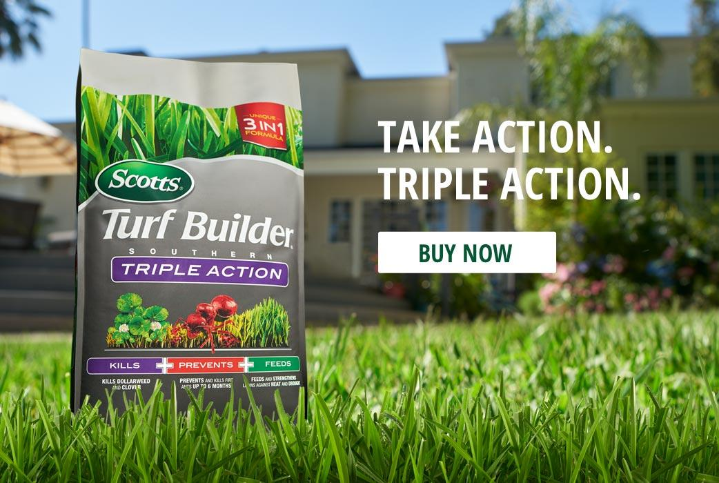 Triple Action South: Combination weed killer, Southern lawn fertilizer, fire ant preventer