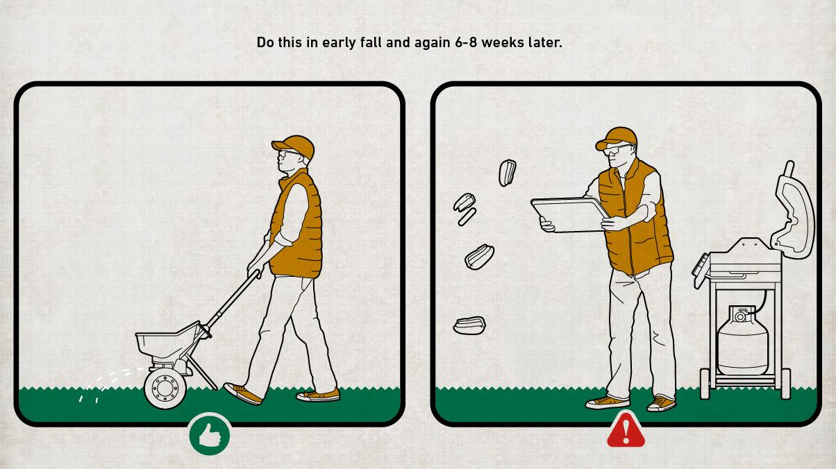 Illustration of a man feeding his lawn with a lawn fertilizer spreader correctly next to another illustration of a man feeding his lawn incorrectly with meat.