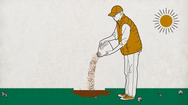 Illustration of man seeding his lawn