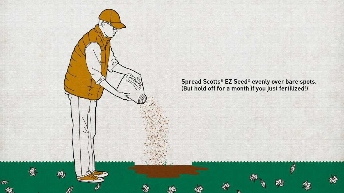 Illustration of a man spreading Scotts EZ Seed to feed his lawn by spreading it evenly across a bare spot.