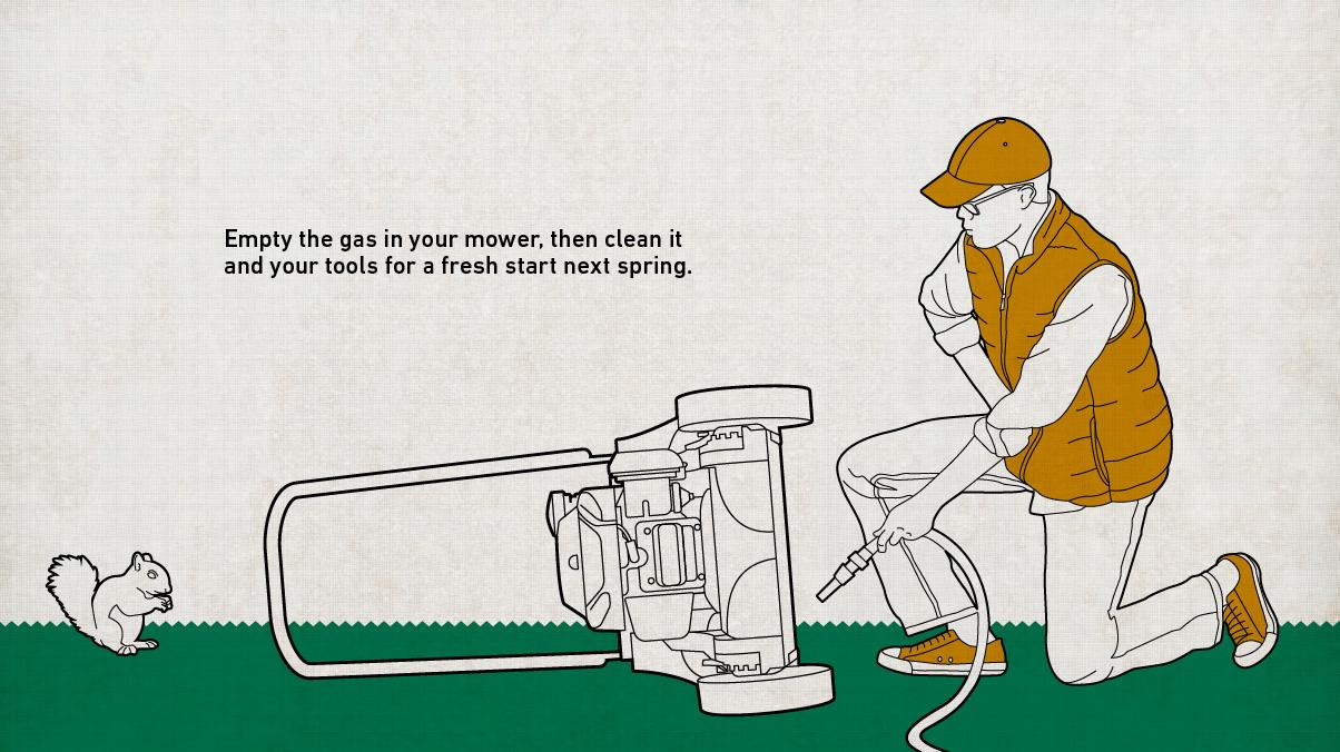 Illustration of a man emptying his gas in his lawnmower then flipping it over to clean it with a hose spraying water.