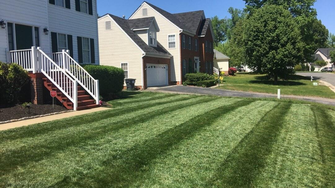 Lawn with green stripes