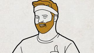 Illustration of a man smiling with a headband on and a thumbs up.