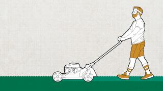 Lawn Survival Guide: Illustration of a man pushing a lawn mower.