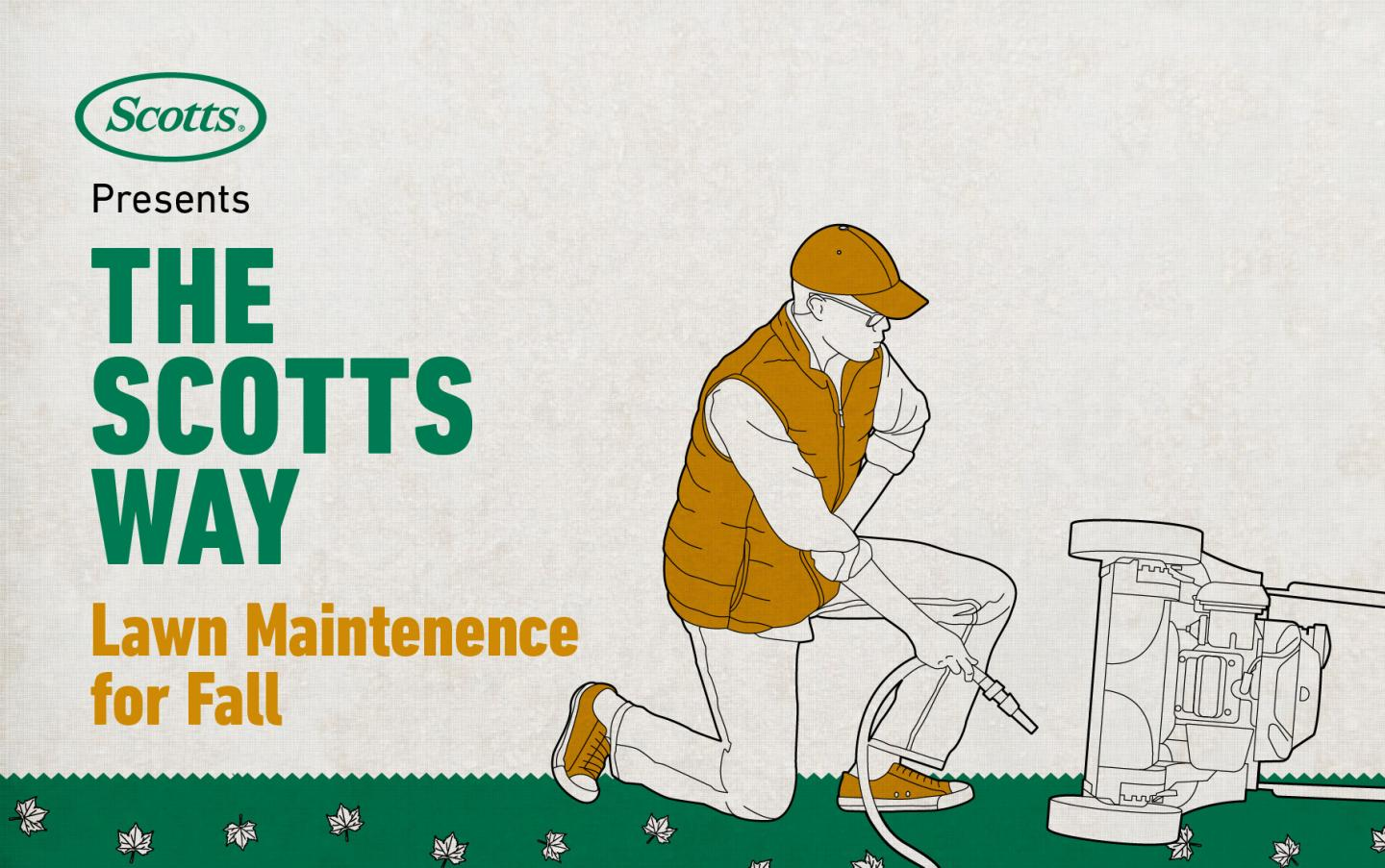 The Scotts Way: Lawn Maintenance for Fall - Illustration of a man connecting hose to a lawnmower for cleaning.