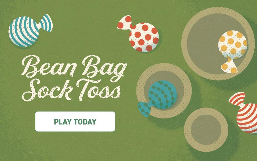 Bean Bag Sock Toss: Illustration of bean bags made from colorful socks flying into 3 containers of different sizes