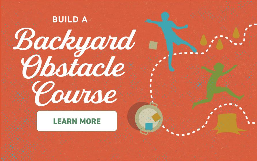 Build a Backyard Obstacle Course: illustration of kids following path through homemade obstacle course