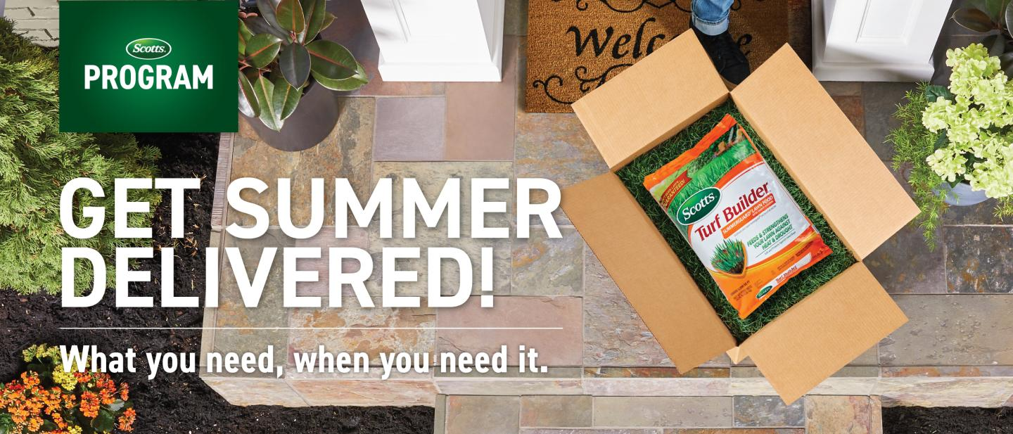 Get Summer Delivered – What you need, when you need it: package of Scotts® lawn food in opened box on front step