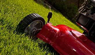 A red lawn mower on a green lawn.