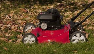 A red lawn mower sitting in a pile of leaves.