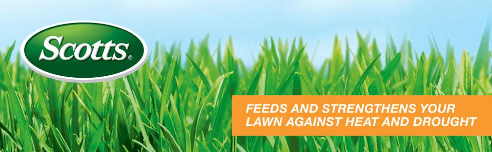 Scotts logo over green grass with caption- Feeds and Strengthens your lawn against heat and drought