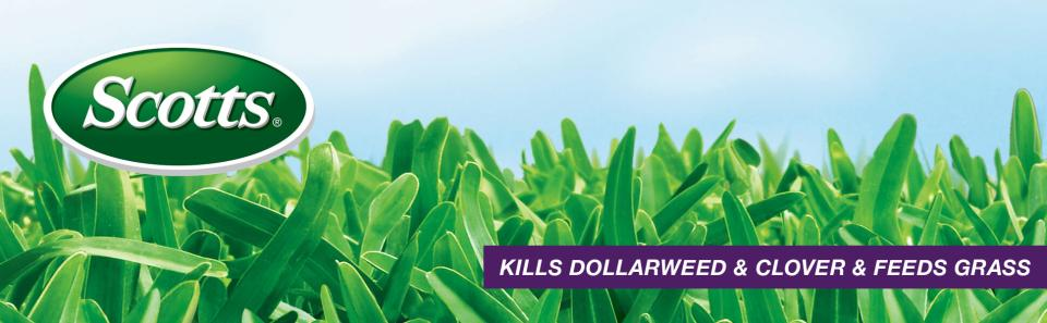Scotts logo over green grass with caption- Kills dollarweed and clover and feeds grass