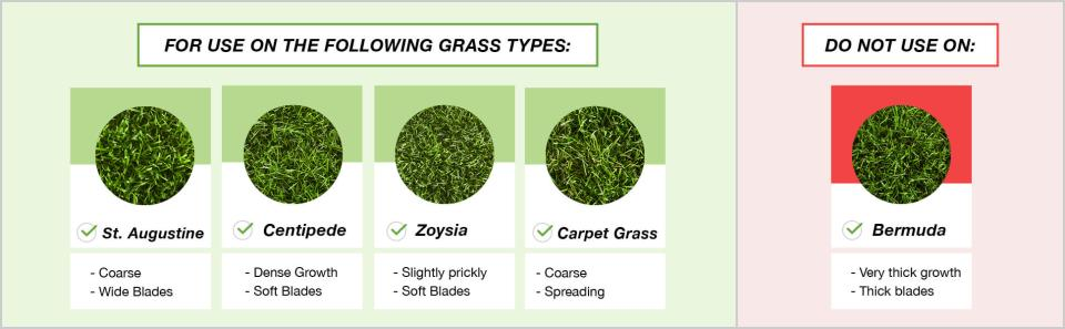 Grasses Bonus S can be used on- St. Augustine, Centipede, Zoysia, Carpet Grass. Do not use on Bermuda Grass