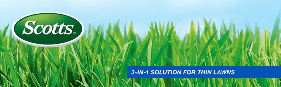Scotts logo over green grass with caption- three in one solution for thin lawns
