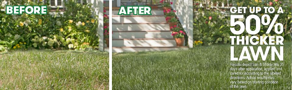 Comparison between a lawns that are and aren't using Scotts Turf Builder Thick'R Lawn Sun & Shade