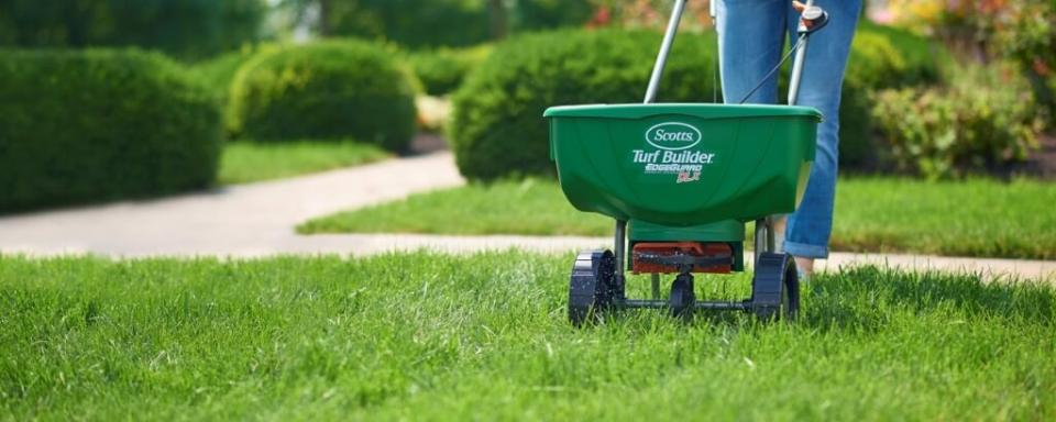 Lawn Spreader in Green Grass
