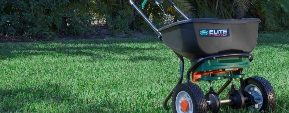 Spreader sitting in lawn