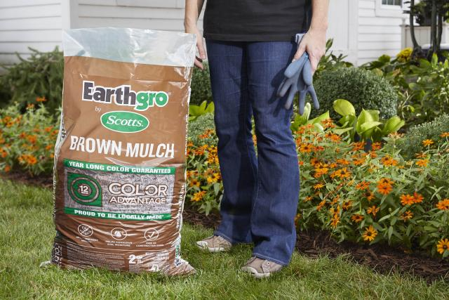 Consumer standing next to brown mulch packaging on lawn