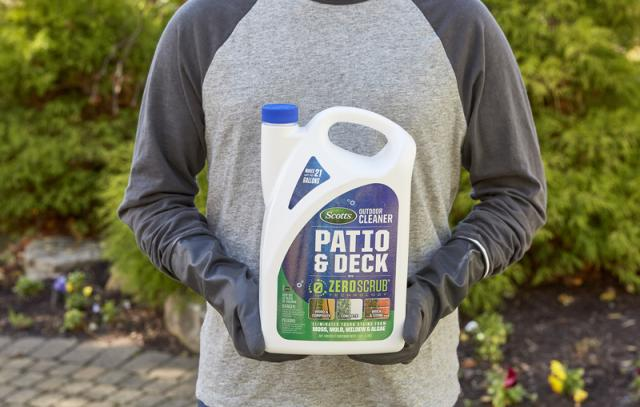 Scotts® Outdoor Cleaner Patio & Deck with ZeroScrub™ Technology Concentrate In Hands